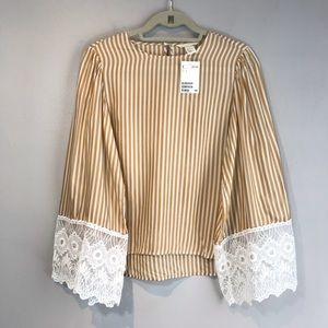 NWT Striped Gold&White Blouse with Lace sleeves